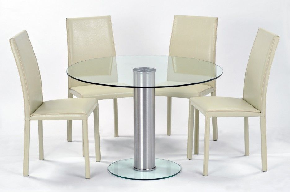 Glass Round Dining Table, Cream Colored Dining Room Furniture