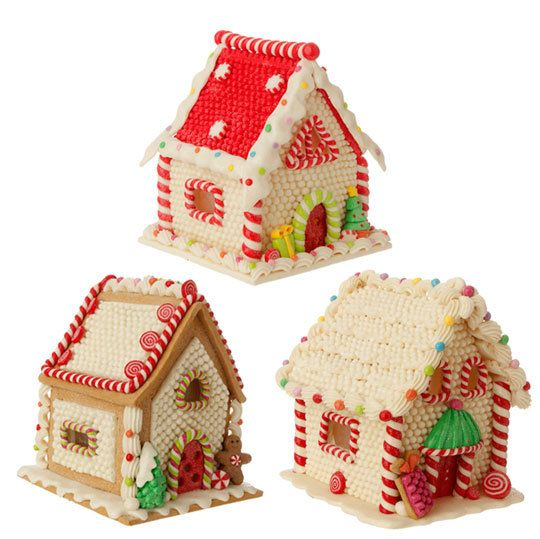 fake gingerbread Christmas houses use as tree ornaments or table top