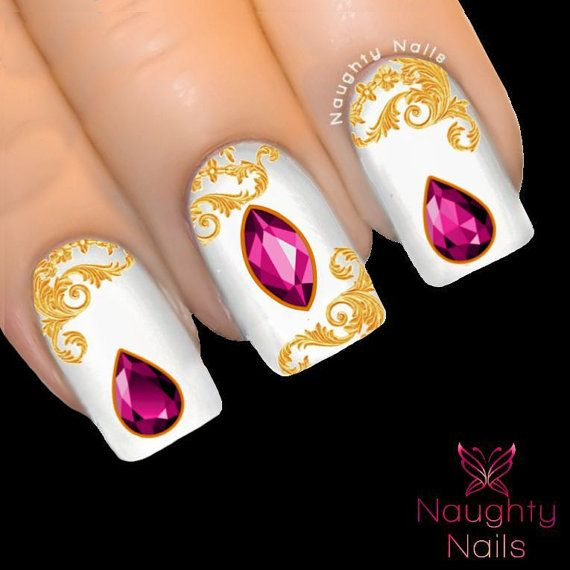 Dark fuchsia pink gemstone nail water transfer decal sticker crystal cabachon tattoo nnc 131 clear nail polishclear