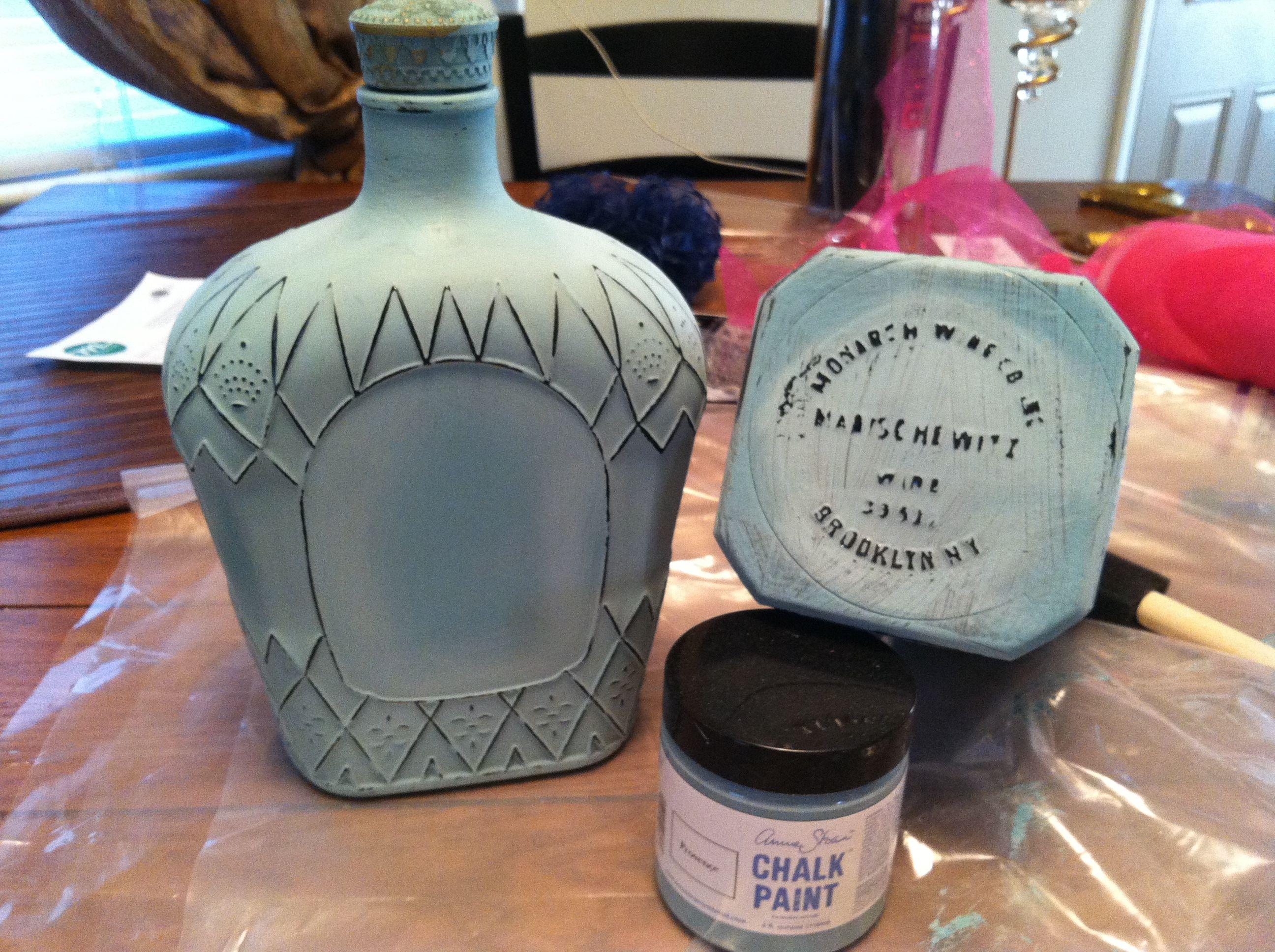 Chalk paint liquor bottles to make them