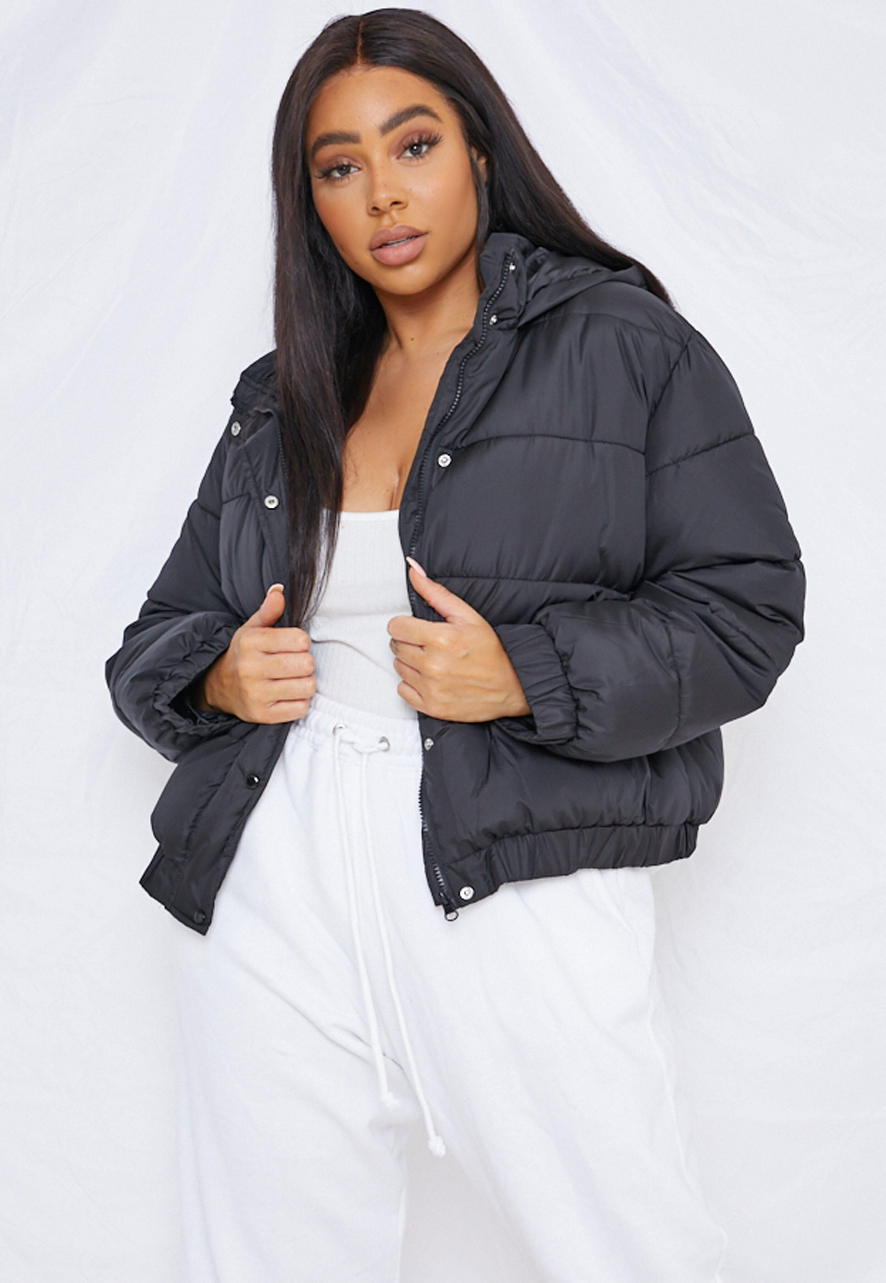 Missguided Plus Size Black Hooded Puffer Jacket Black Puffer Jacket Puffer Coat With Hood Puffer Coat [ 4200 x 2900 Pixel ]