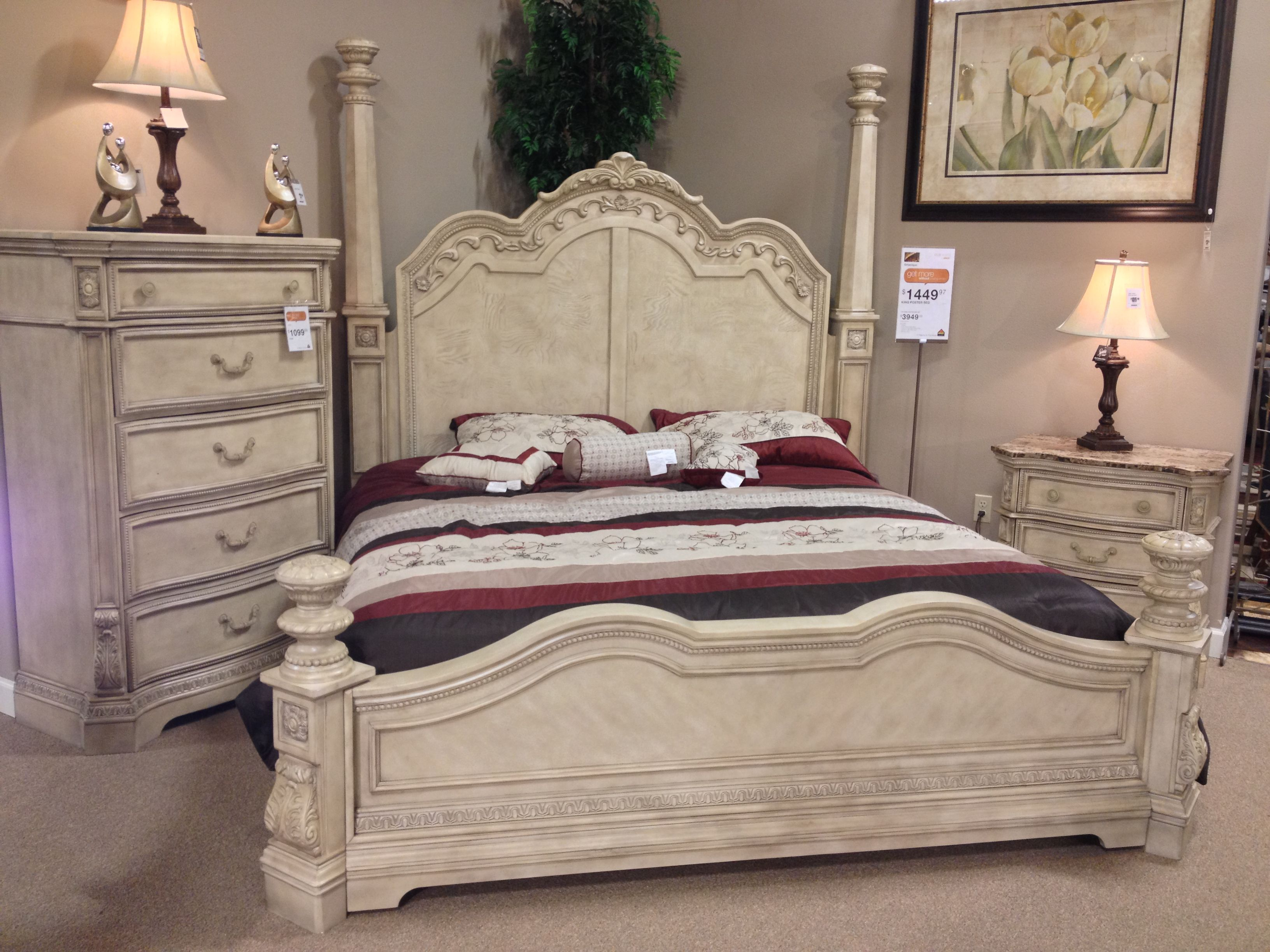 ortanique king poster bed three drawer nightstand 5