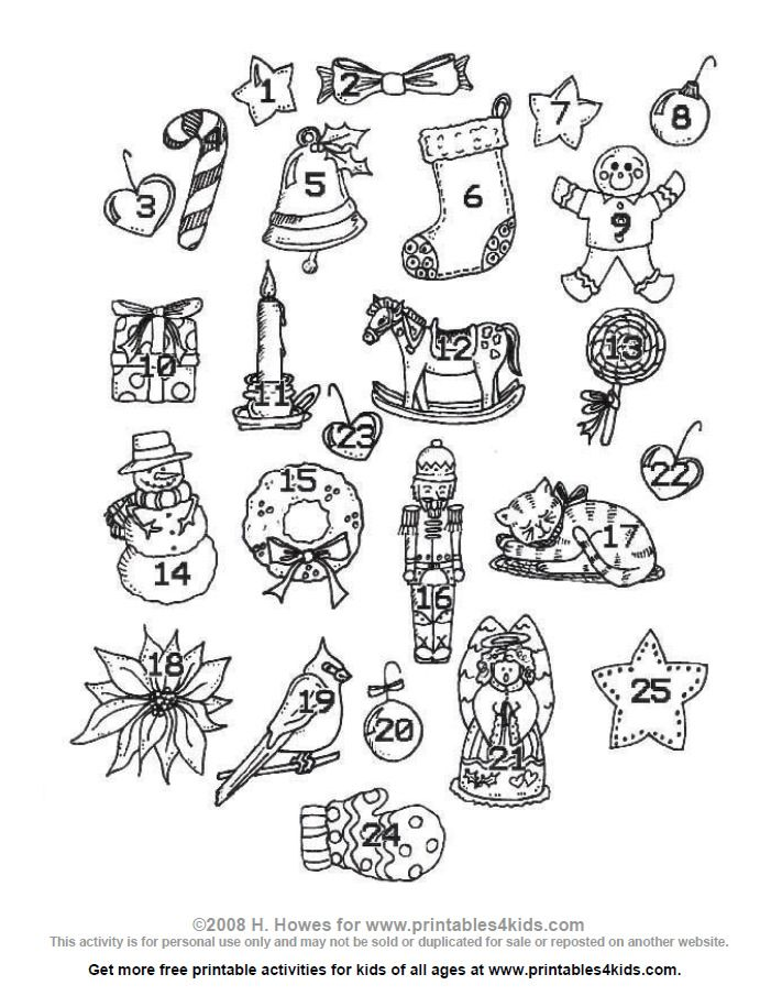 Christmas Advent Ornaments Printables For Kids Free Word