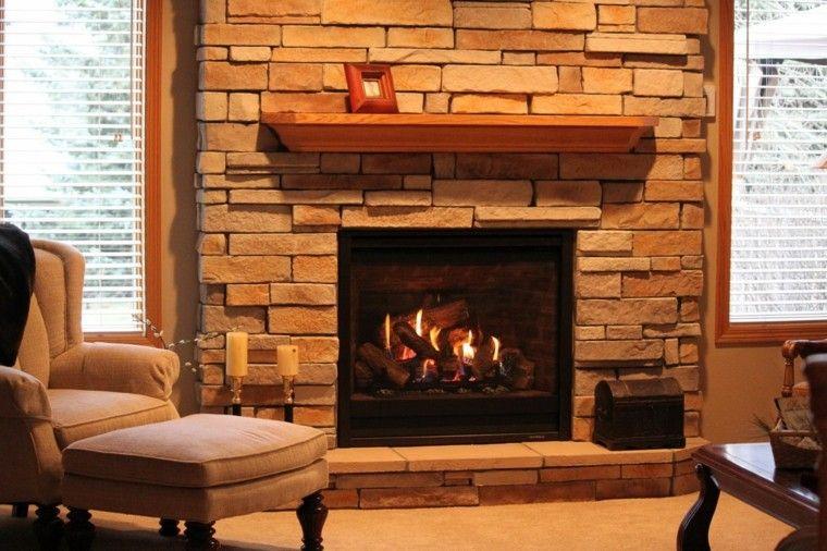 Piedra y madera para los revestimientos de paredes Chimenea de