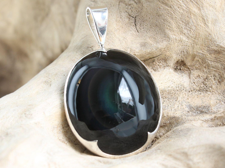Nouveau Mystique Ovale Noir Onyx Fait à la main Femmes Bijoux Argent Collier Pendentifs