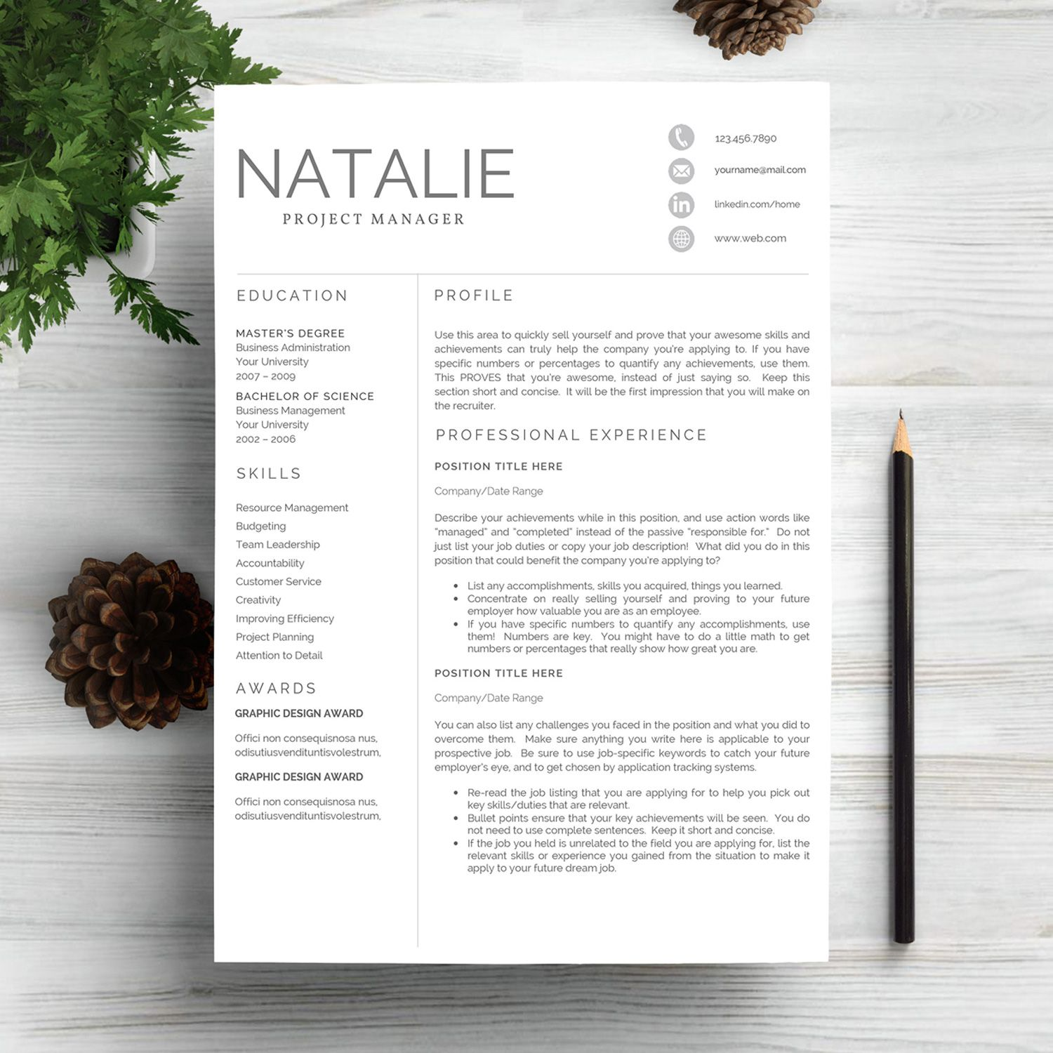 Professional Resume Template CV by Indograph on @creativemarket | R ...