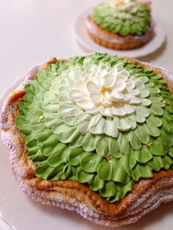 抹茶クレームブリュレのパイ