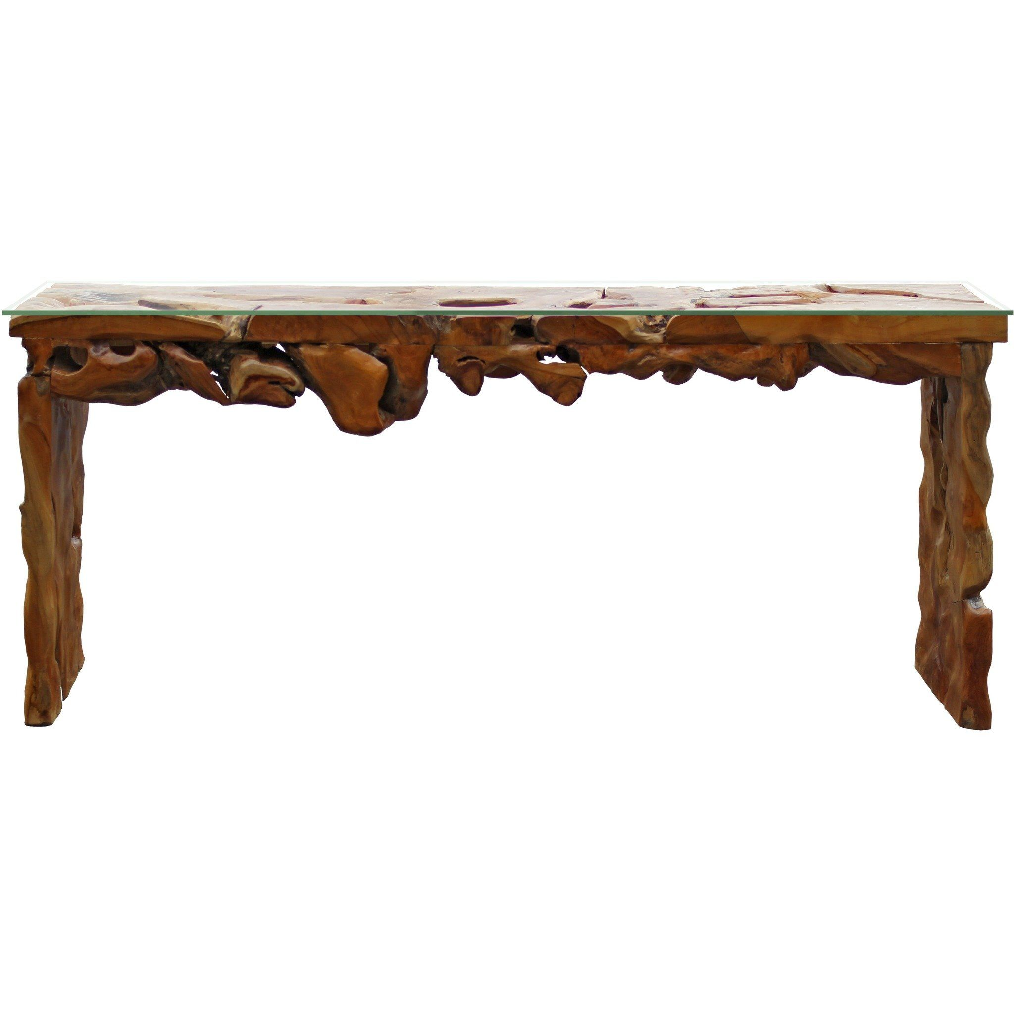 Teak Wood Root Console Table With Glass Top 72 Inches By Chic