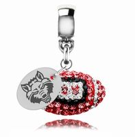 This 3D Arkansas State Red Wolves crystal football drop charm is made with Sterling Silver and colorful sparkly crystals.