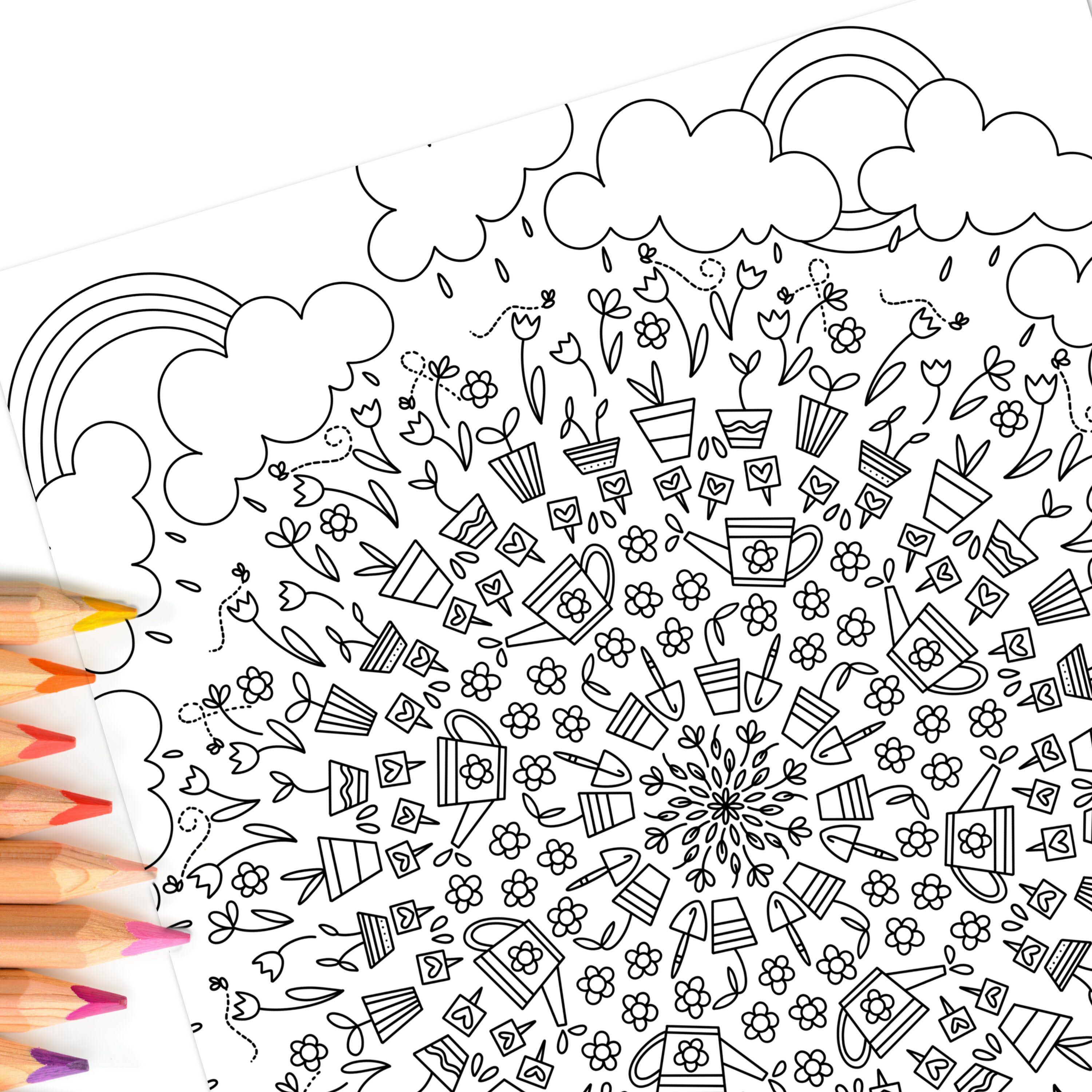 Spring Garden | Hand-Drawn Coloring Page Print & Color ...