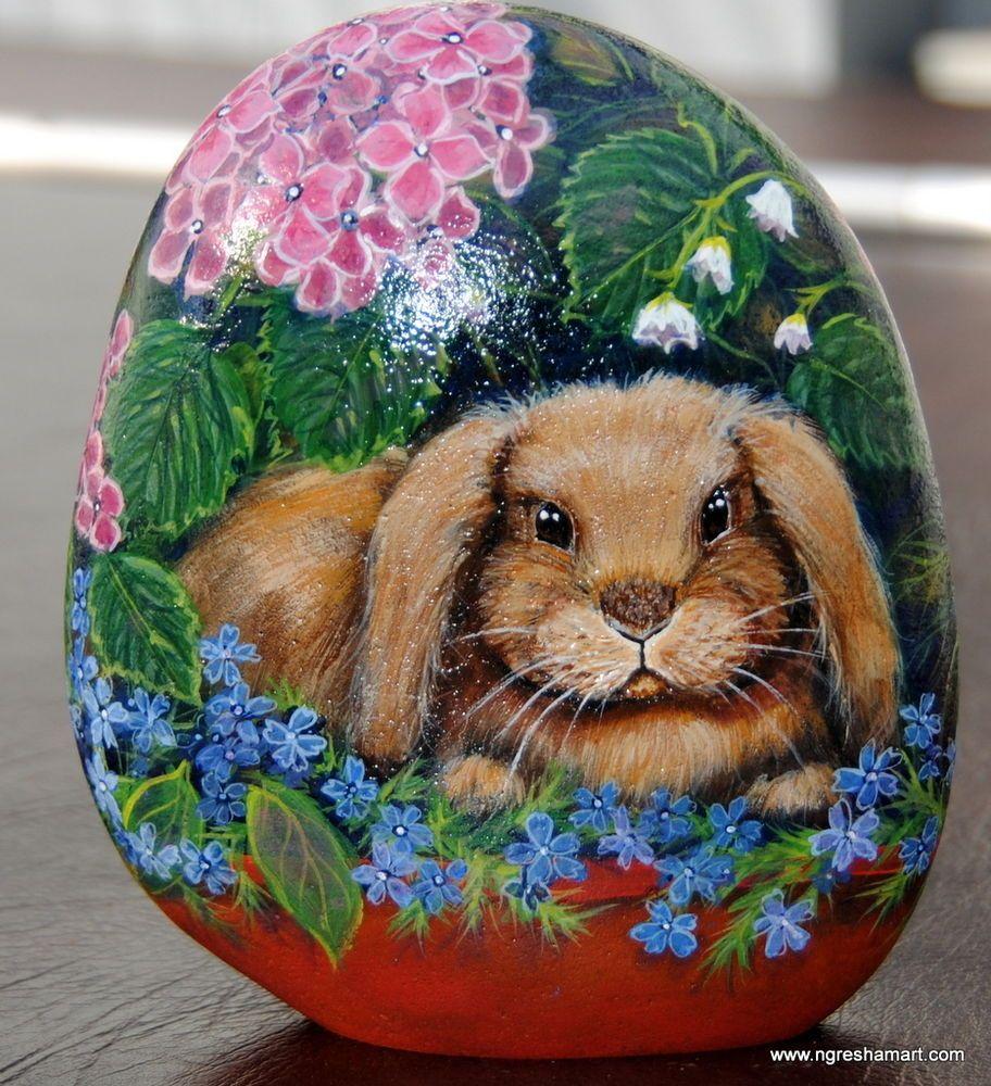 HANDPAINTED ROCK,bunny,FLORAL,animals,art,STONE,yard,GARDEN DECOR ...