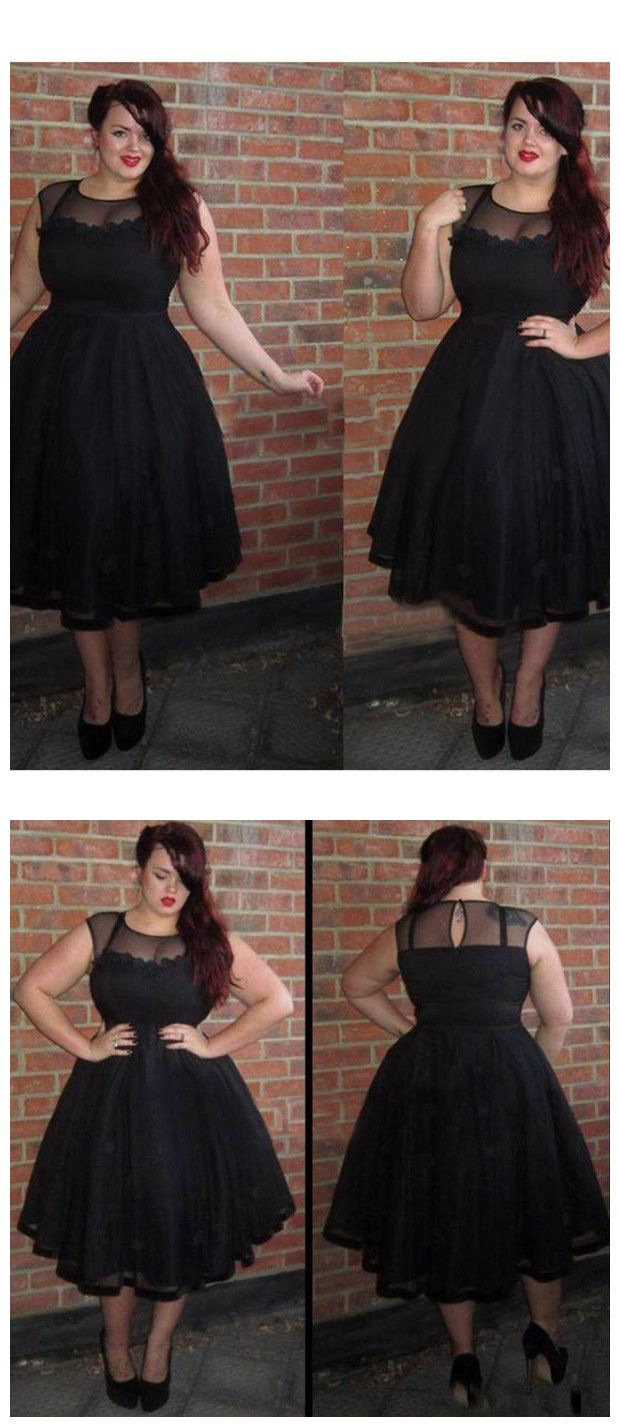 Black plus size homecoming dress cheap tulle homecoming dress