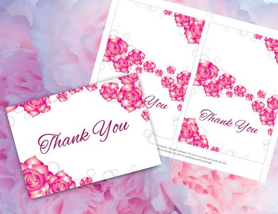 DIY Printable Wedding Thank You Card Template – Microsoft Word Thank You Card Template
