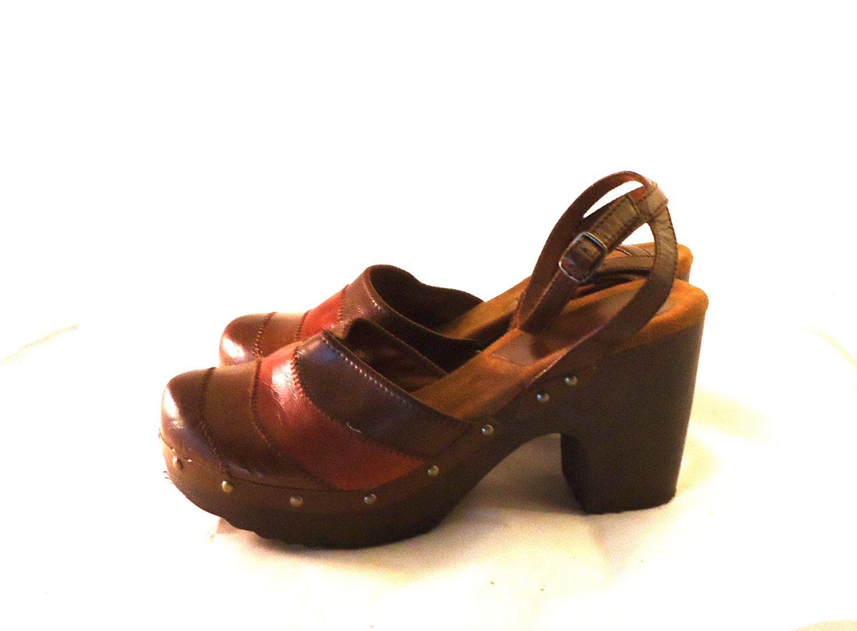 Multi Colored Vegan Leather Round Closed Toe Wood Heels Split