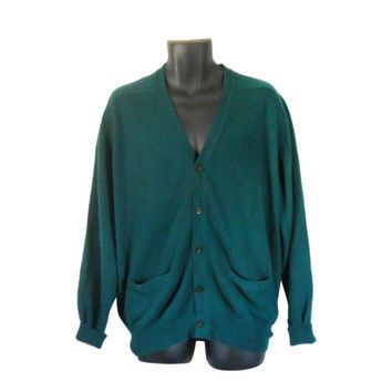 Vintage Men Green Cashmere Sweater Green Christmas Sweater Holiday ...
