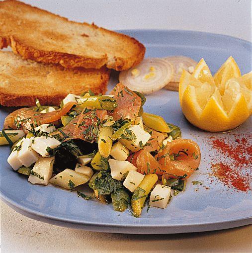 #Salade de #chèvre, #saumon et #poireau   #Recette #Soignon