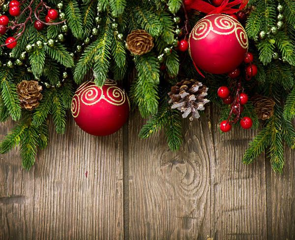 Wooden Christmas Background With Ornaments Christmas Decorations Christmas Desktop Christmas Wallpaper