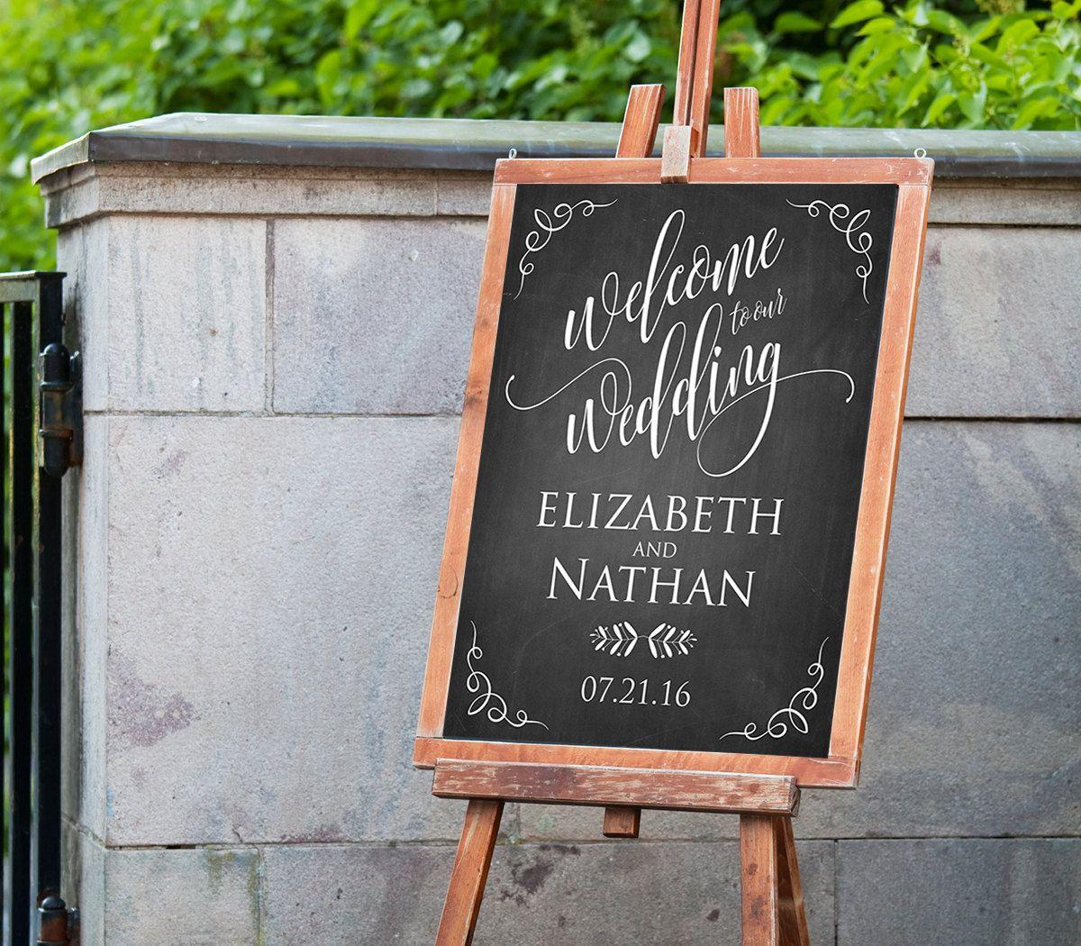 wedding welcome sign template instant download editable pdf template rustic chalkboard. Black Bedroom Furniture Sets. Home Design Ideas