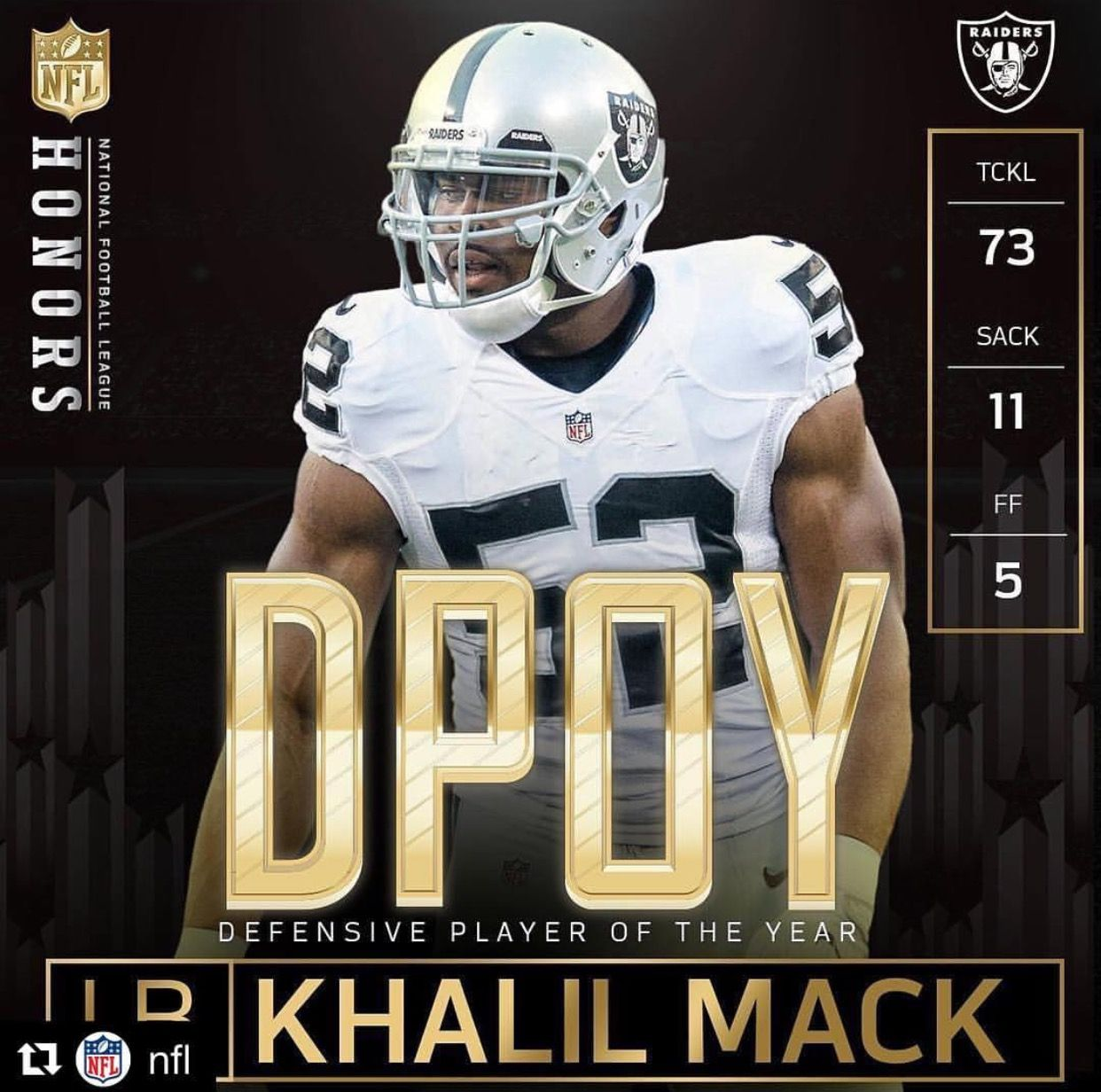 Khalil Mack Defensive Play Of The Year Raiders Football Football