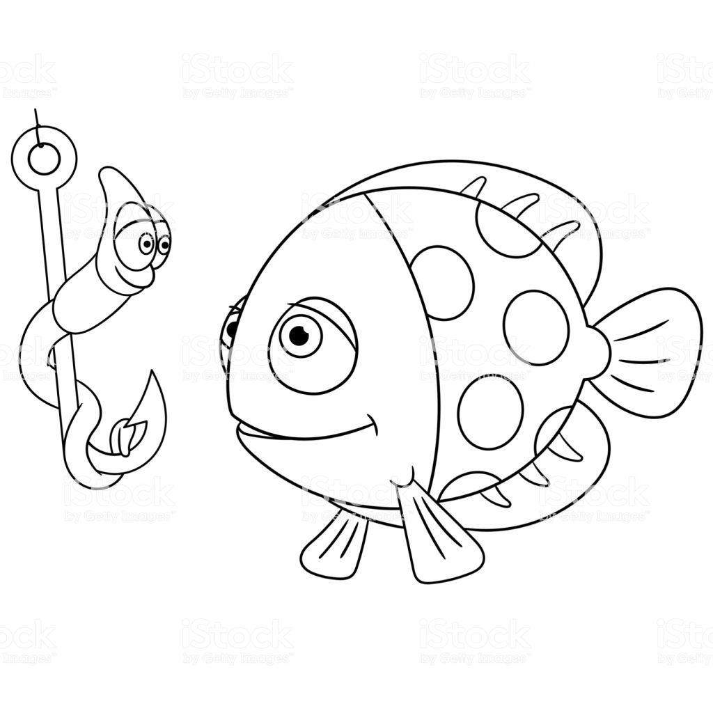 Ilustracion De Pagina Para Colorear De Dibujos Animados Peces Y Gusano Y Mas Vectores Libres De Derechos De Aleta Parte Del Cuerpo Animal Libro De Colores Manualidades Escolares Dominicales Libros
