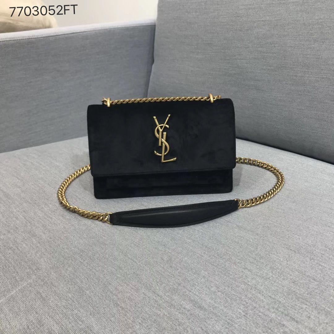 d1df9cdc481 Ysl Saint Laurent woman borsa sunset small size chain flap bag velvet black