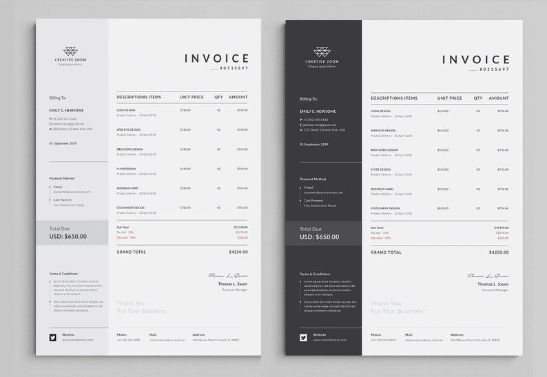 Invoice Template Business Invoice Receipt Printable Etsy In 2021 Invoice Template Invoice Design Printable Invoice