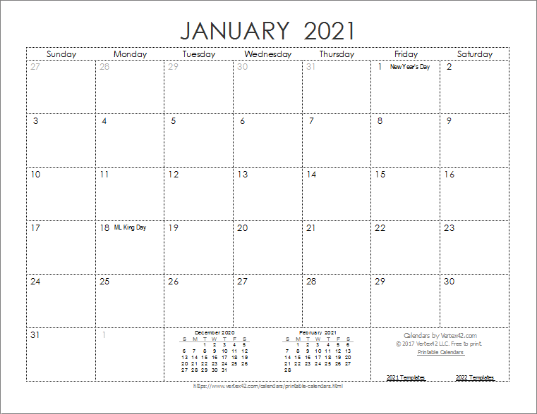 Download The 2021 Ink Saver Calendar From Vertex42 Com In 2020 Calendar Template Printable Calendar Template Print Calendar