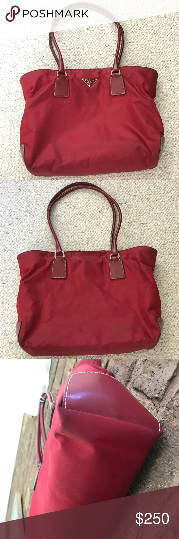 9bc61eb89f9e0c Prada rare vintage small tote in red nylon Gorgeous pre-loved red shoulder  bag from Prada with leather handles and patches on the bottom sides.