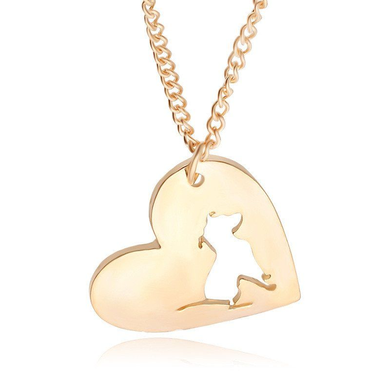 Dog Paw Heart-shaped Pendant and Necklace
