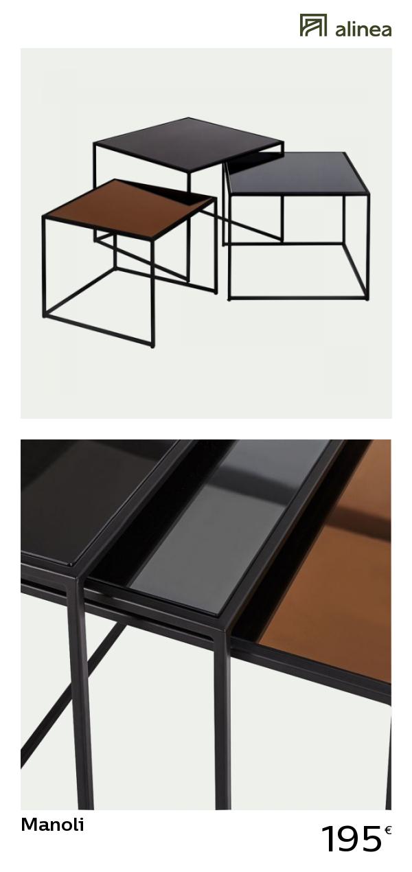 en soldes 5494a e52c3 alinea : manoli ensemble de 3 tables basses gigognes en ...