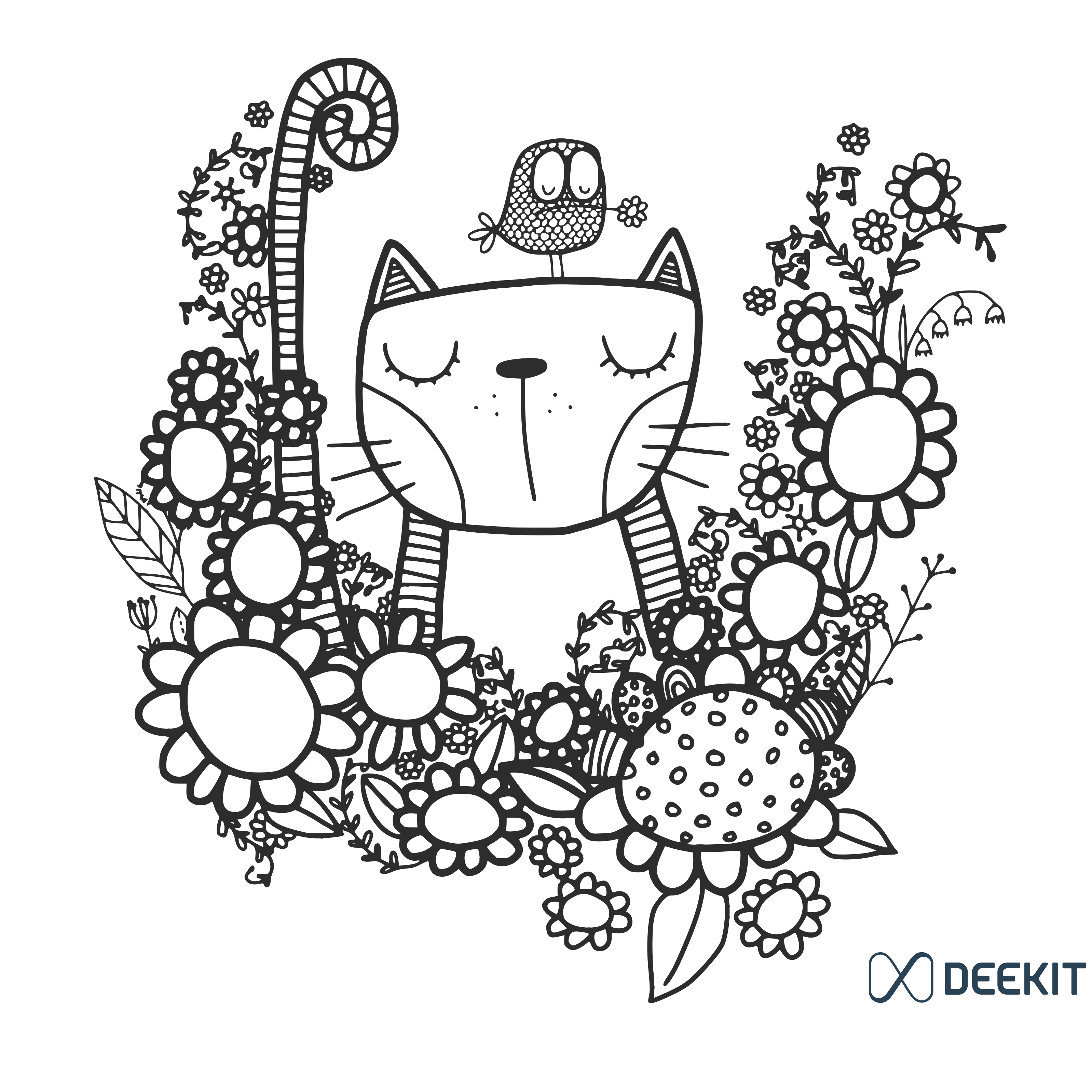 Stunning Free Colouring Template Of A Cat And The Bird Colouring