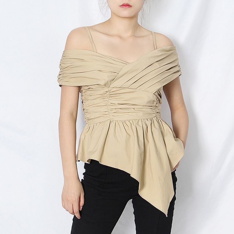 Womens Summer Tops Sling Off-Shoulder T-Shirt Bowknot Ruffled Two Color Blouse