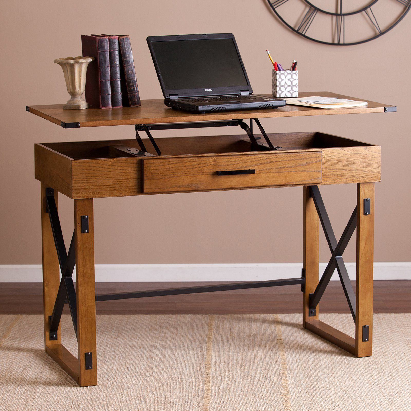 Height Desk Ever Wished You Could Jack Up Your Desktop Meet The Southern Enterprises Canton Adjule Top Easily Raises And Lowers