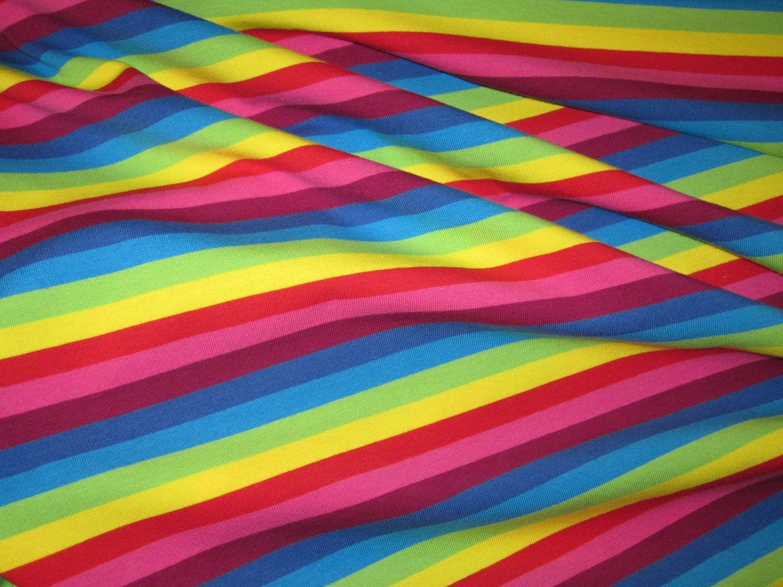 Caribbean Sunshine Rainbow Stripe Cotton LYcra Knit Fabric