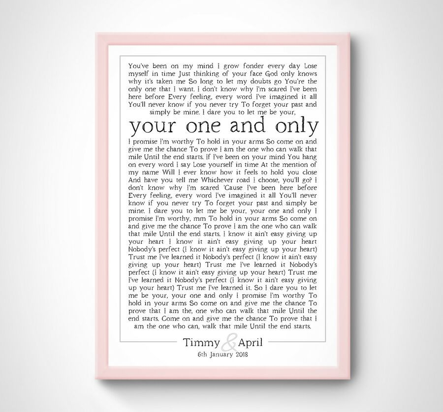 PERSONALISED Adele One And Only Love â ¤ï¸ Song Lyrics
