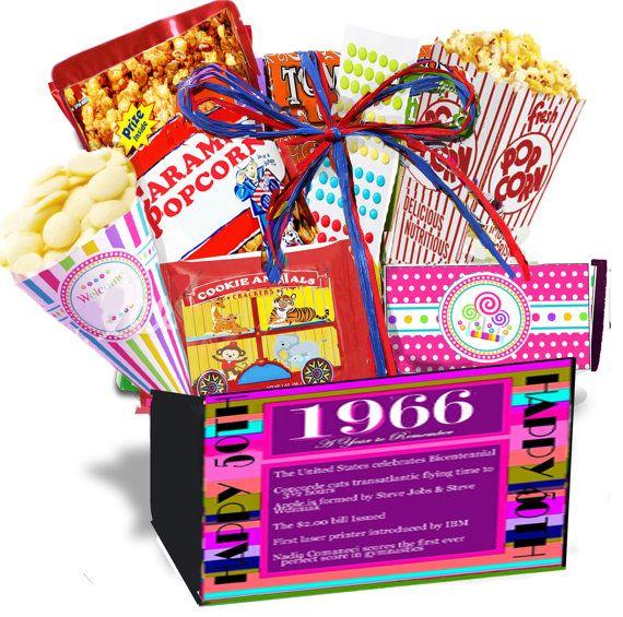 50th Birthday Gift Basket Box We Turned The Past Into A Present 1966 Retro NostalgicAnniversaryRetirement