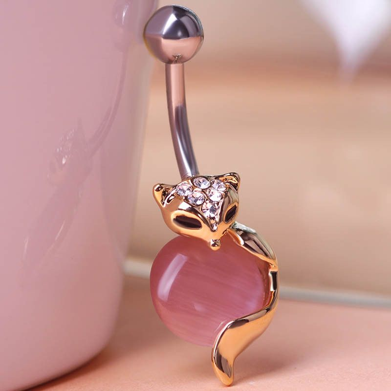 65bf2fd0 Gold Fox Body Piercings Jewelry Navel Rings Belly Button Ring Percing Joias  Ouro Industrial Pircing Bijou Free Steampunk Women