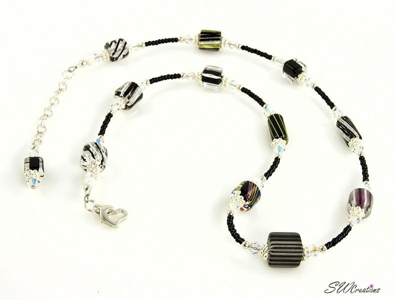 Beaded Necklaces - Black Cane Crystal Silver Necklace