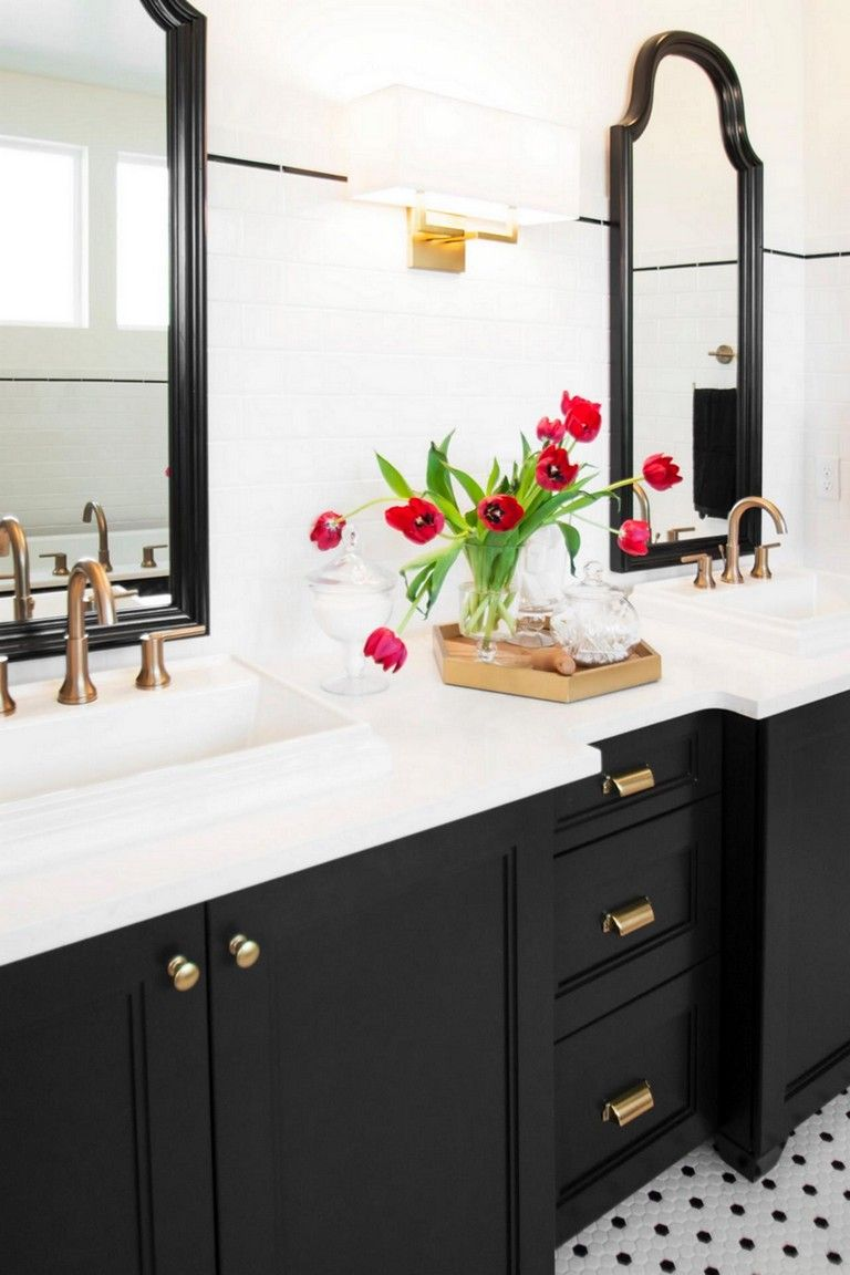 34 Stuning Sweet Black And White Decor Color Ideas Black Cabinets Bathroom Black And White Decor Black Bathroom
