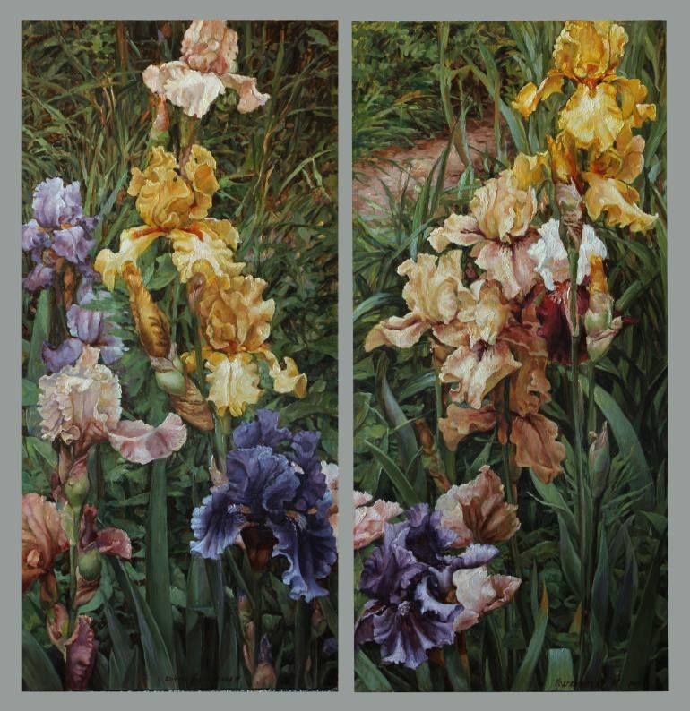 "Saatchi Art Artist Марина Подгаевская-Курдина; Painting, ""Irises (diptych)"""