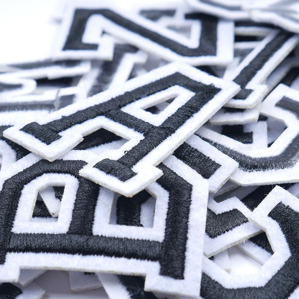 Sew on Alphabet Embroidery Clothes LARGE White Letter Patch Patches Iron on