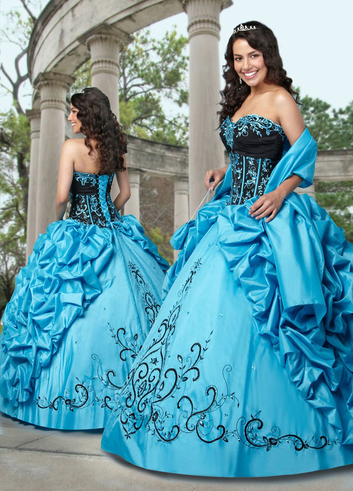 Turquoise and Black Ball Gown Sweethear and Strapless Bandage Floor ...