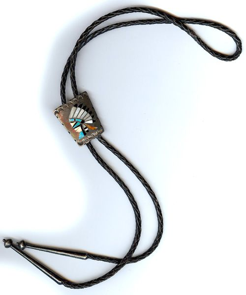 VINTAGE ZUNI INDIAN STERLING SILVER INLAID TURQUOISE CORAL SHELL CHIEF BOLO TIE