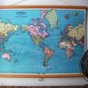 Large canvas vintage style school map with wood by grittycitygoods large canvas vintage pull down style school map with oak wood trim world map 1897 on etsy kr gumiabroncs Image collections