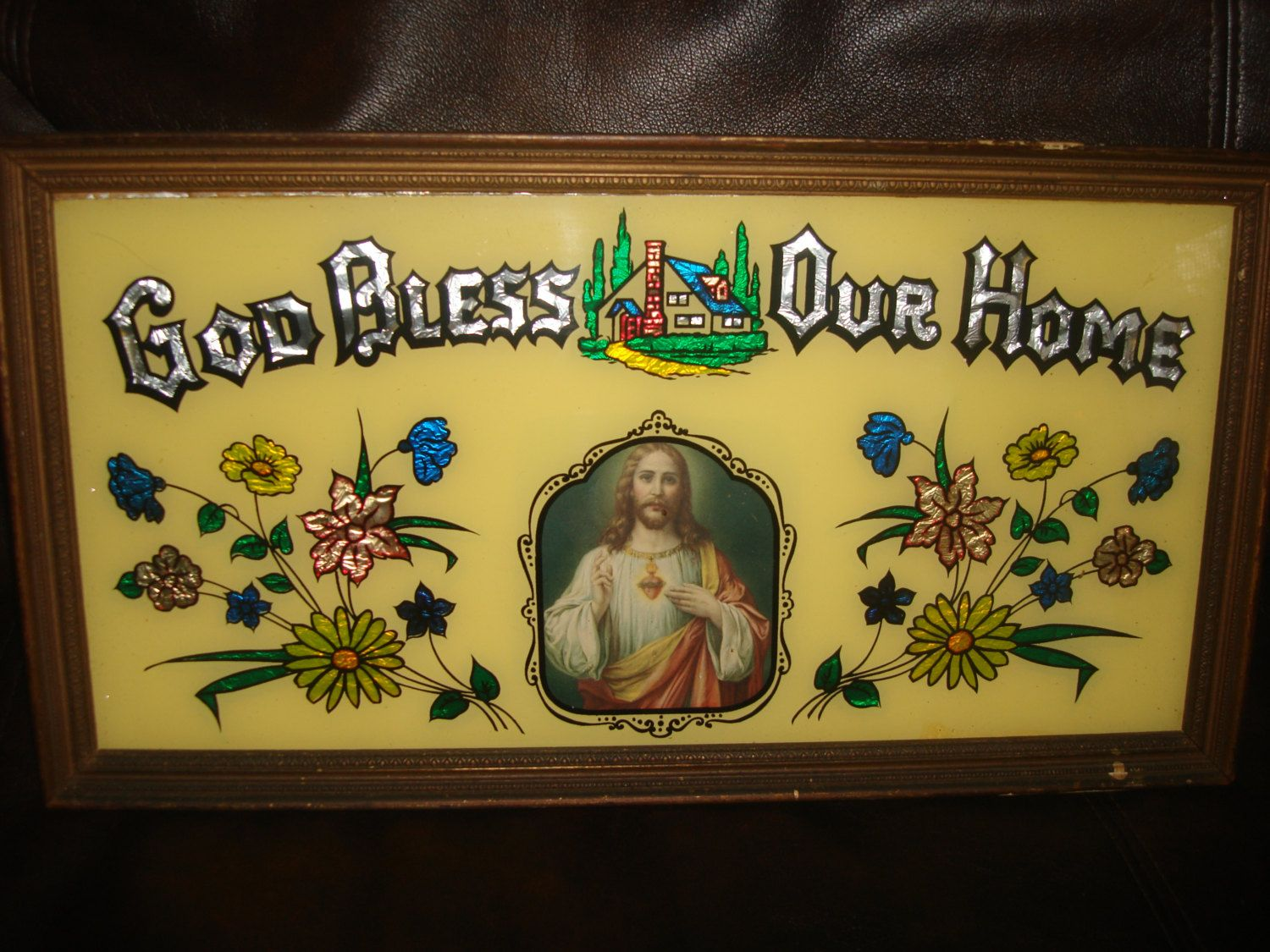 vintage religious wall hanging god bless our home wall hanging ...