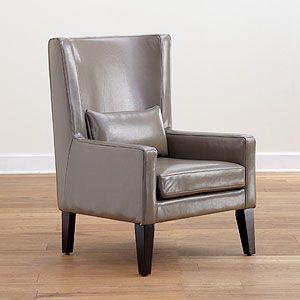 Fab Side Chair Grey Triton High Back Bi Cast Leather Chair   World Market
