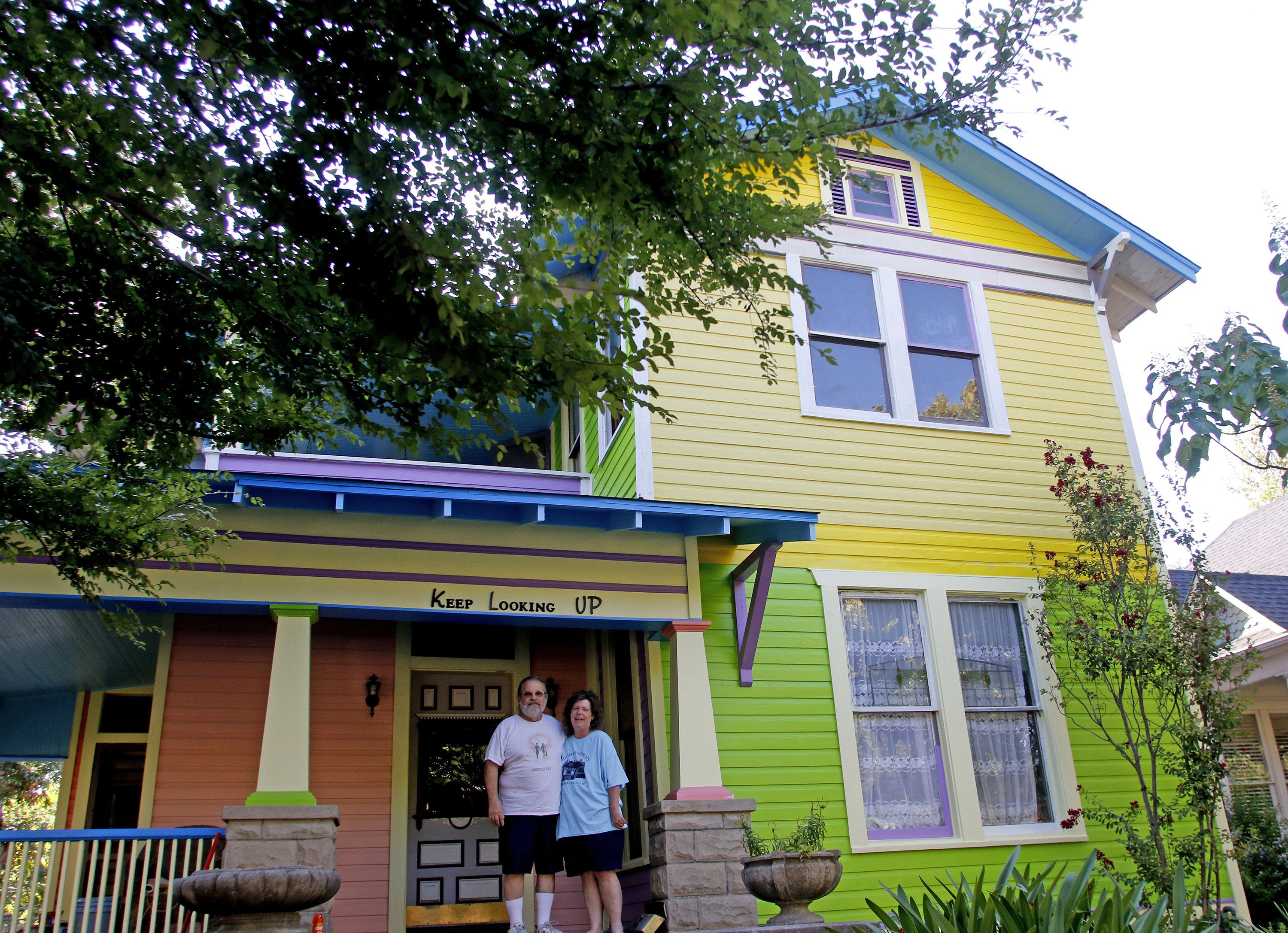 "This happy house in Fort Worth, Texas, was inspired by the Pixar movie ""Up."""