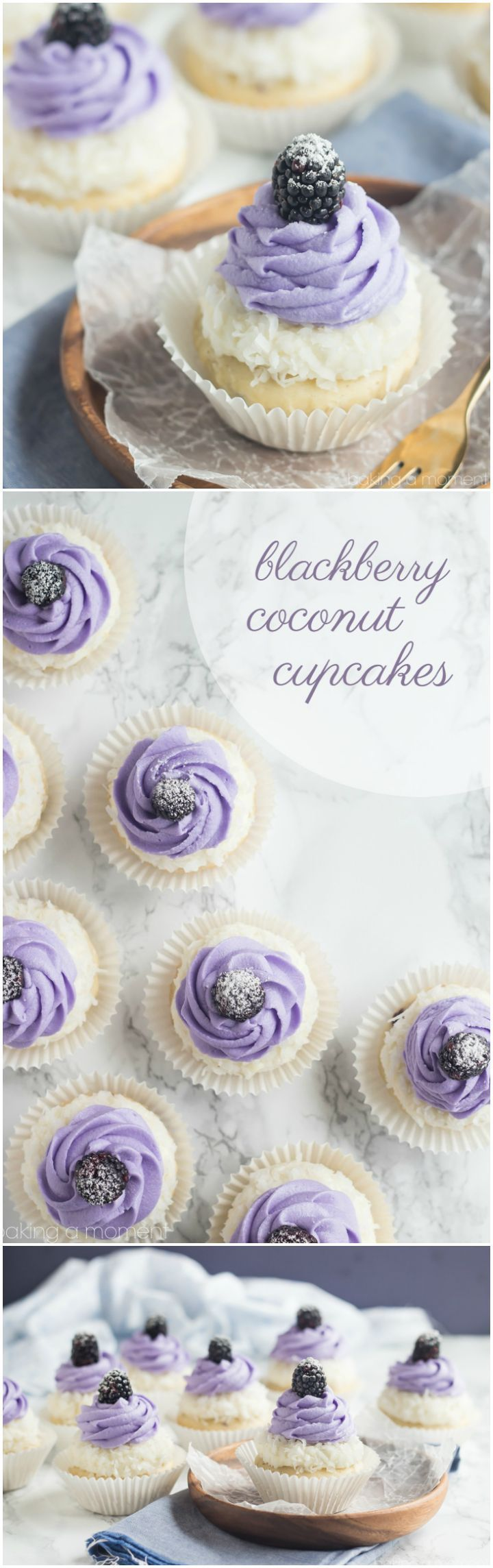 Blackberry Coconut Cupcakes- oh my! So dreamy and light, and that blackberry filling was such a fun surprise! ~ http://bakingamoment.com