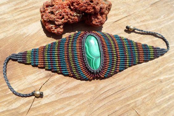 handmade macrame gemstone bracelet/arm bracelet with malachite cabochon and adjustable size with sliding clasps.: