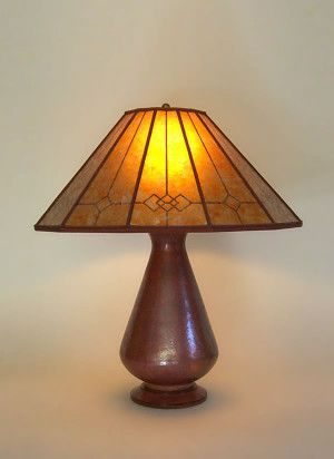 Mica Lamp Shade Amusing T224A Hammered Recycled Copper Table Lamp Windowpane Mission Mica Design Inspiration